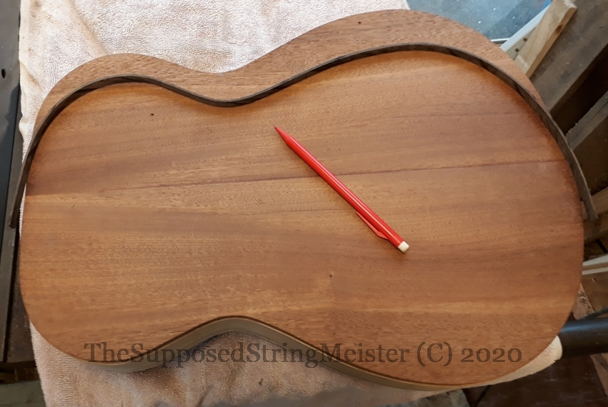 Ebony strips of wood binding bent to fit back of guitar