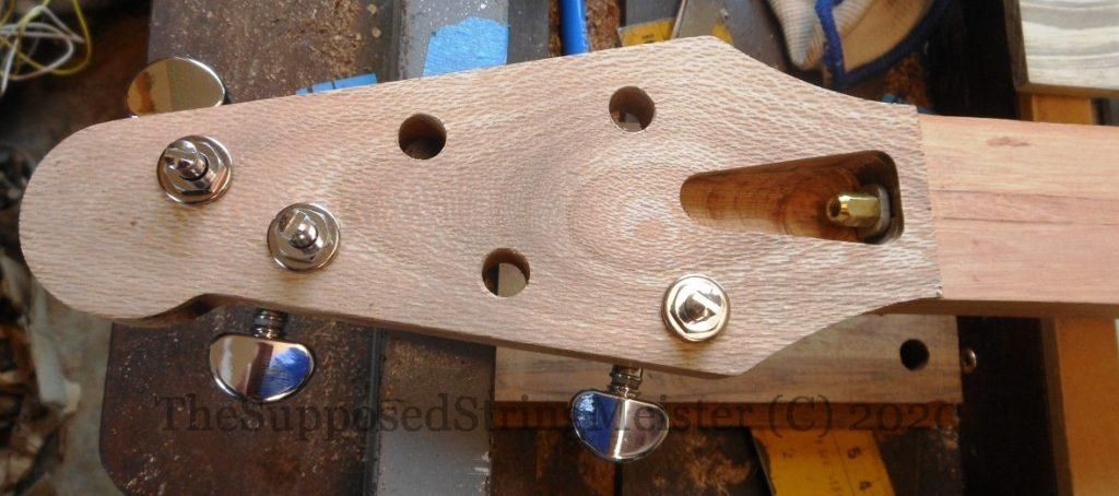Rewarewa New Zealand headstock veneer with Grover locking tuners