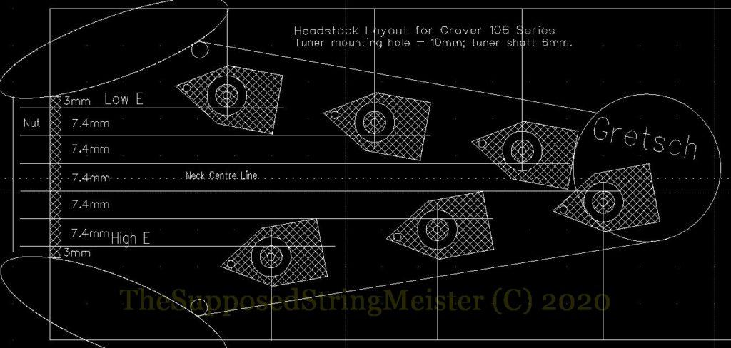 Headstock design for Grover 106 locking tuners - based on Gretsch Corvette