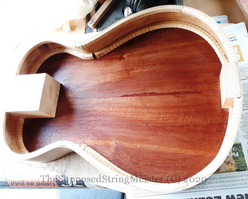 Kohekohe sides glued on to the mahogany back with Stewmac fish glue.