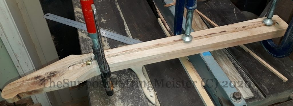 Kohekohe guitar neck - gluing in 6mm thick strip of wood
