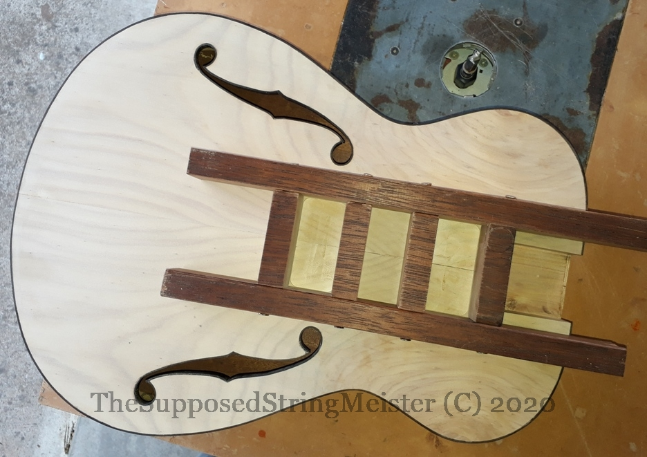 Routing the pickup openings for TV Jones Classics with the use of a template
