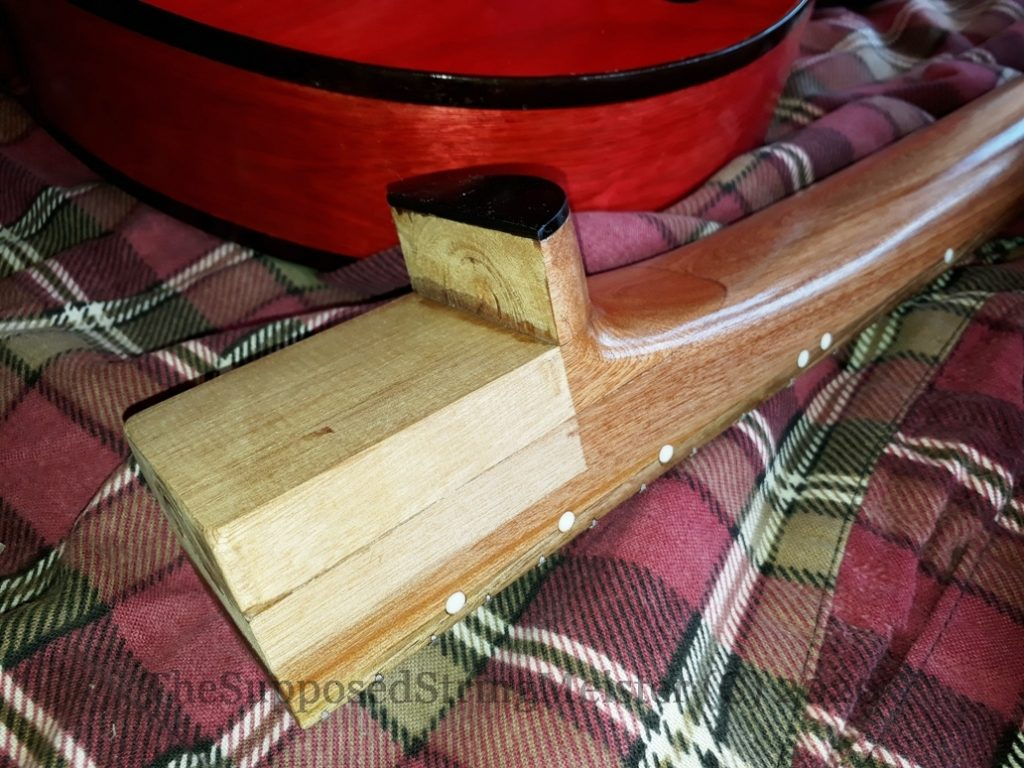 Kohekohe neck about to be glued into the Duovette guitar