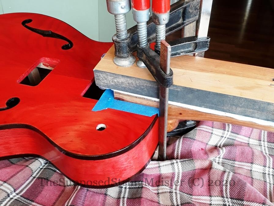Kohekohe neck glued into the Duovette guitar