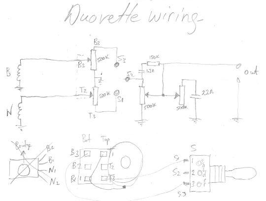 Duovette Guitar - Wiring Diagram