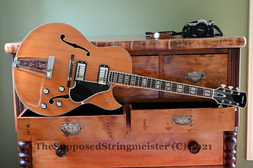 Yamaha AE-11 from 1973 with New Zealand Kauri scotch chest from late 1800s.